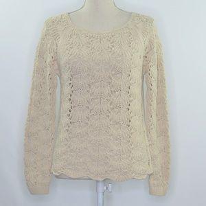 LOFT Beige Loose Knit Scalloped Hem Sweater